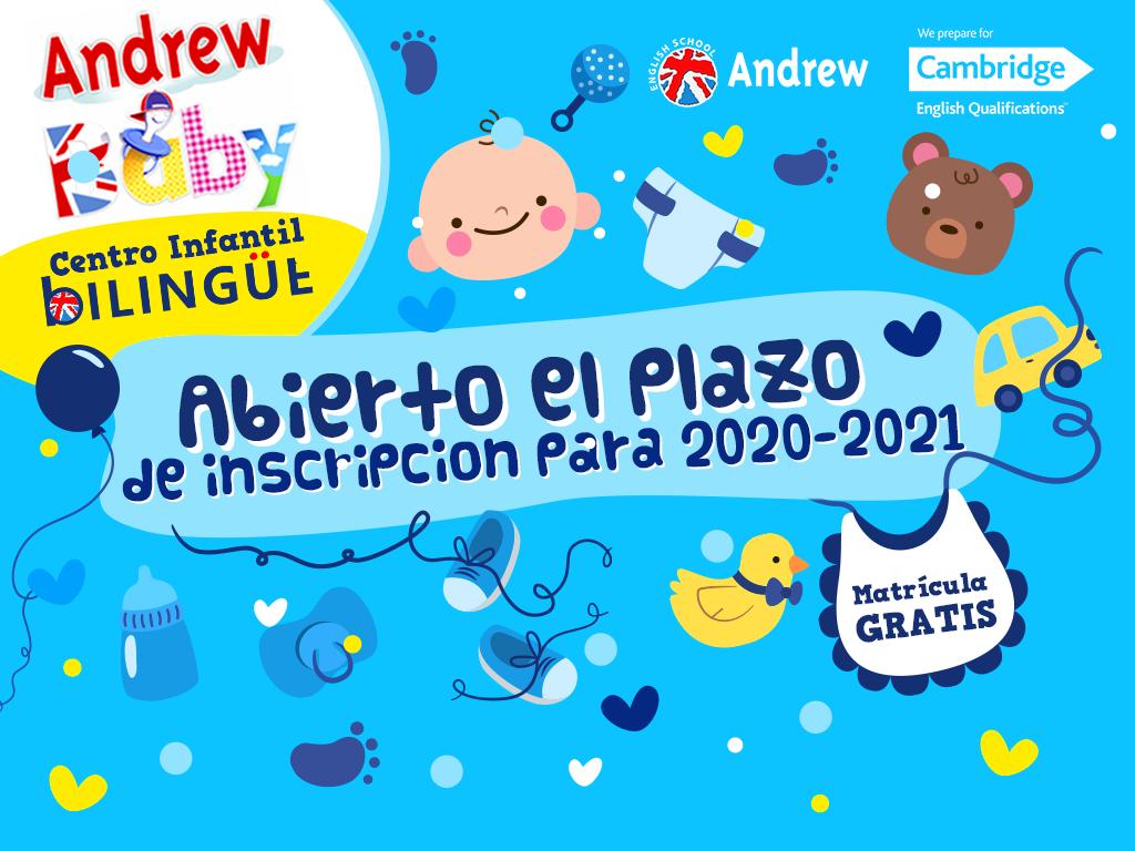 Imagen de ABIERTO PLAZO MATRÍCULA 2020 - 2021 GUARDERÍA ANDREW BABY | Andrew English School
