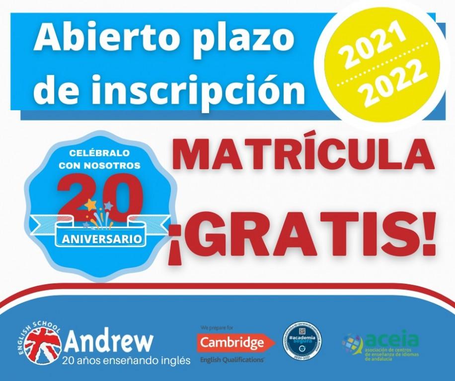 Imagen de Matriculación 2021-2022 | Andrew English School