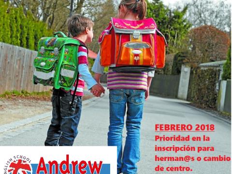 Imagen  FEBRERO. MES PRIORITARIO EN INSCRIPCIÓN PARA HERMAN@S. - Andrew English School
